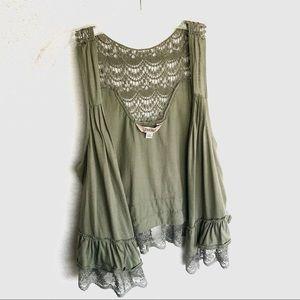 4/$20 Decree Hunter Green Lace & Crochet Vest